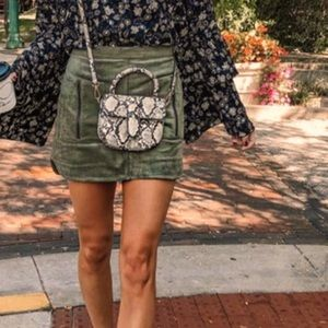 BCBG SKIRT.  Dusty olive patch pocket faux-Suede